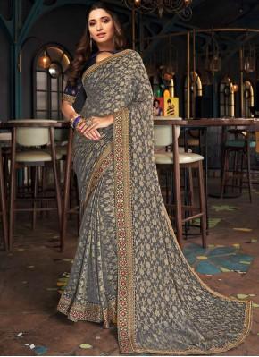 Tamannaah Bhatia Grey Sangeet Designer Saree