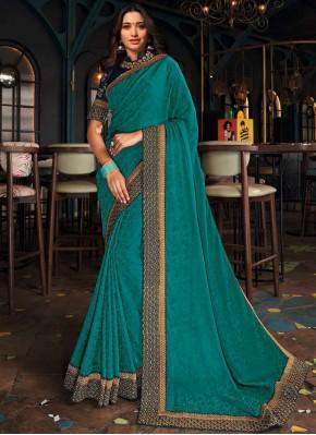 Tamannaah Bhatia Silk Patch Border Turquoise Designer Saree