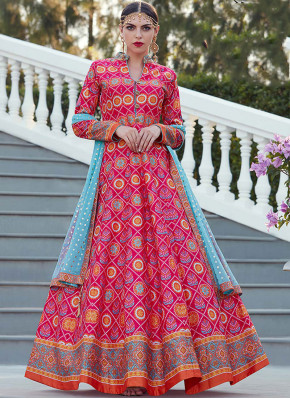 Tantalizing Art Silk Hot Pink Readymade Suit