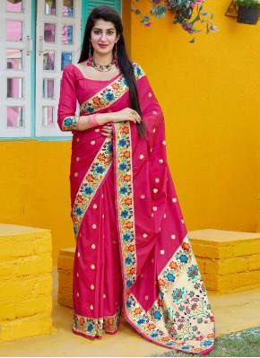 Tantalizing Silk Rani Weaving Designer Traditional Saree