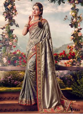 Tantalizing Silver Classic Saree