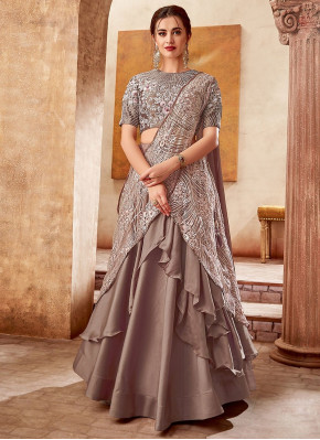 Taupe Satin Silk Designer Layered Lehenga Saree