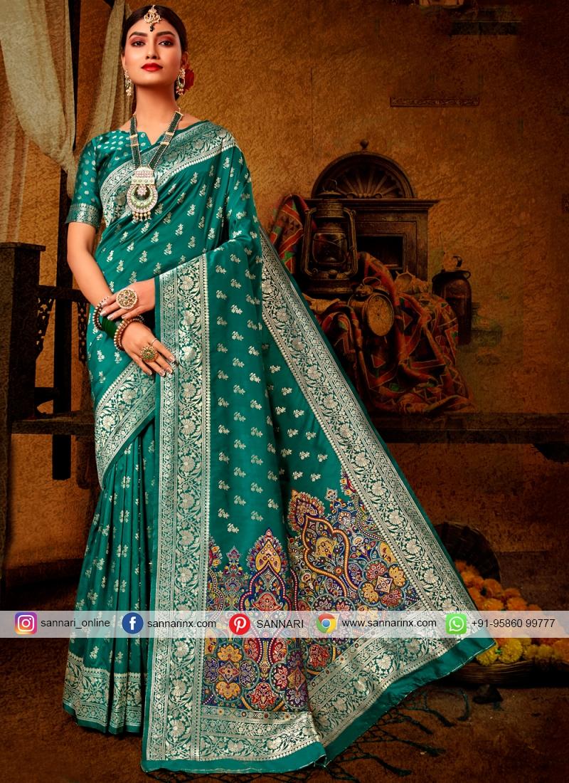Teal Banarasi Silk Ceremonial Designer Traditional Saree