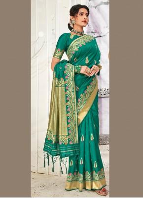 Teal Banarasi Silk Ceremonial Traditional Designer Saree