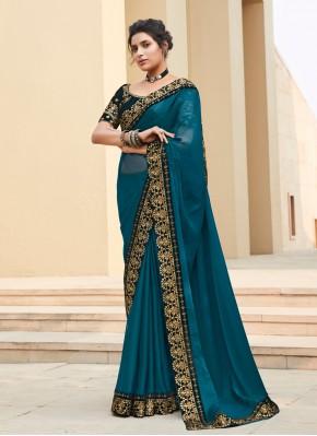 Teal Ceremonial Silk Bollywood Saree