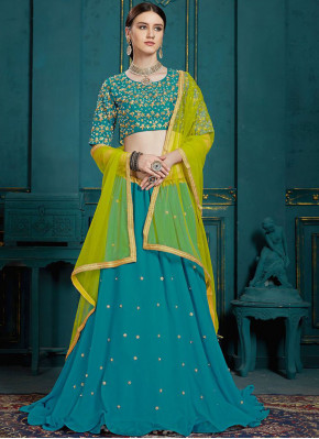 Teal Color A Line Lehenga Choli
