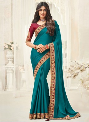 Teal Embroidered Classic Saree