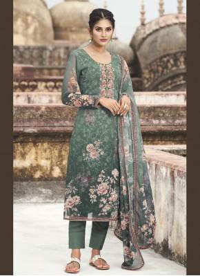 Teal Embroidered Faux Georgette Designer Pakistani Suit