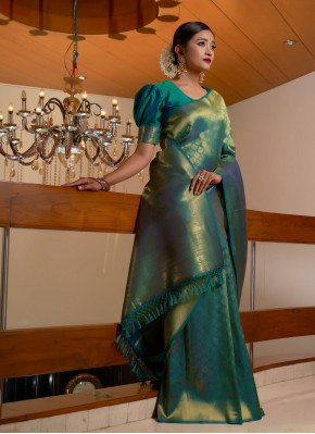 Teal Fancy Ceremonial Traditional Designer Saree