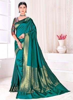 Teal Fancy Jacquard Silk Traditional Designer Saree