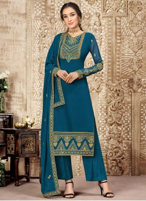 Teal Georgette Ceremonial Palazzo Suit