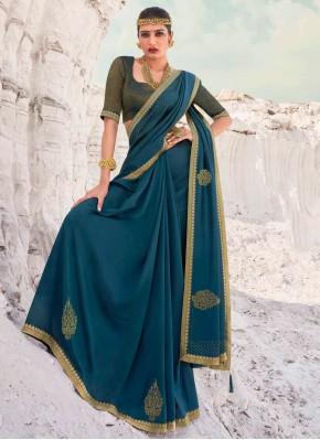 Teal Lace Vichitra Silk Designer Traditional Saree