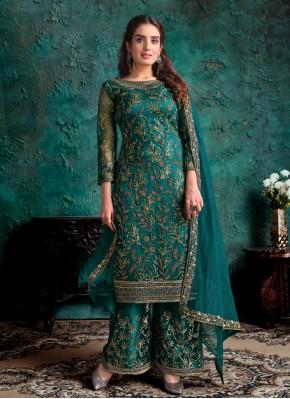 Teal Net Designer Pakistani Suit