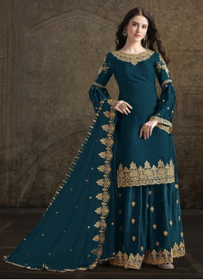 Teal Party Georgette Designer Palazzo Suit