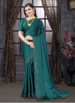 Teal Satin Stone Traditional Designer Saree