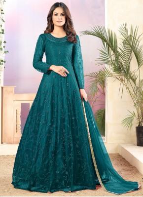 Teal Sequins Net Designer Salwar Suit