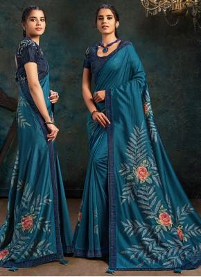 Teal Silk Digital Print Designer Traditional Saree