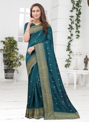 Teal Silk Embroidered Designer Saree