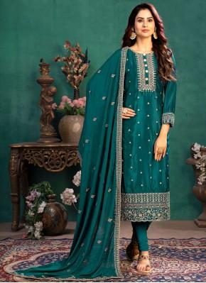 Teal Silk Festival Designer Straight Suit