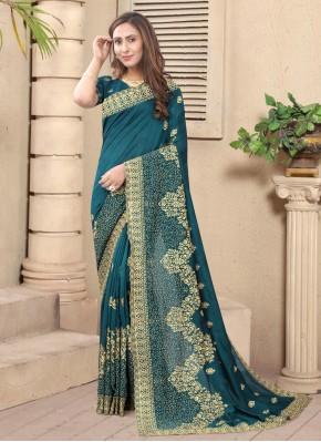 Teal Silk Stone Designer Saree