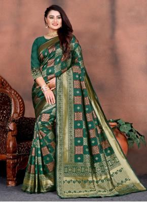 Teal Silk Weaving Designer Saree