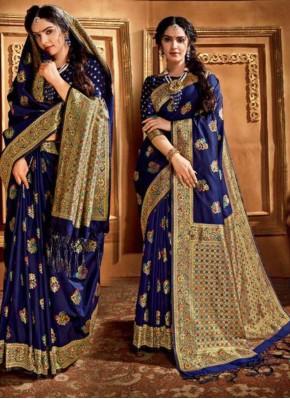 Tempting Blue Weaving Trendy Saree