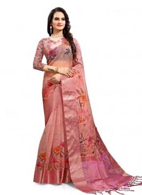 Tempting Digital Print Pink Organza Printed Saree
