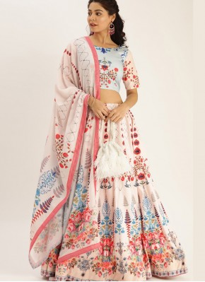 Tempting Digital Print Silk Cream Bollywood Lehenga Choli