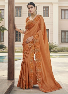 Tempting Embroidered Silk Bollywood Saree