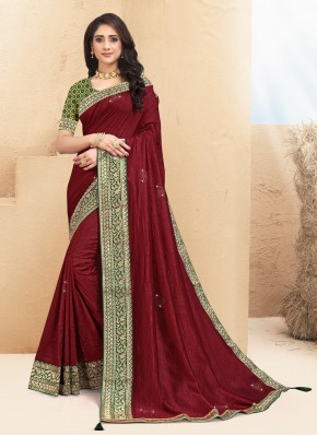 Tempting Maroon Trendy Saree