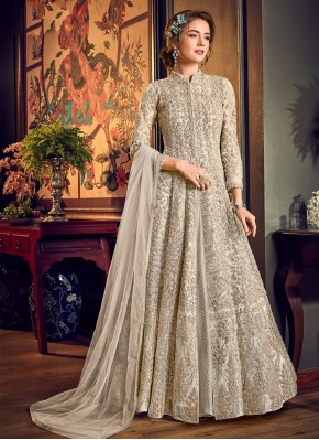 Tempting Off White Jacket Style Salwar Suit