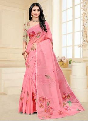 Tempting Pink Digital Print Fancy Fabric Printed Saree