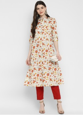 Tempting Printed Cotton Party Wear Kurti