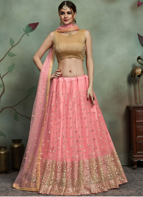 Tempting Sequins Pink Net Trendy Lehenga Choli