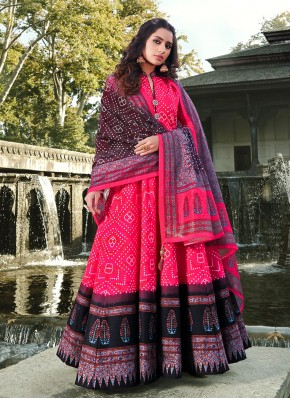 Tempting Silk Hot Pink Readymade Anarkali Salwar Suit
