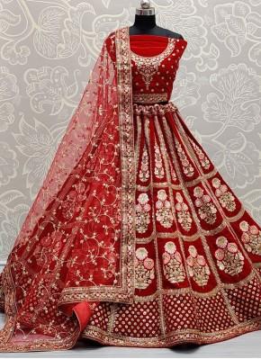 Tempting Velvet Red Sequins Lehenga Choli