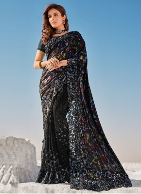 Thrilling Black Contemporary Saree