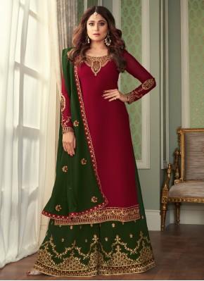 Thrilling Embroidered Magenta Shamita Shetty Designer Palazzo Suit