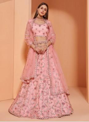 Thrilling Embroidered Pink Lehenga Choli