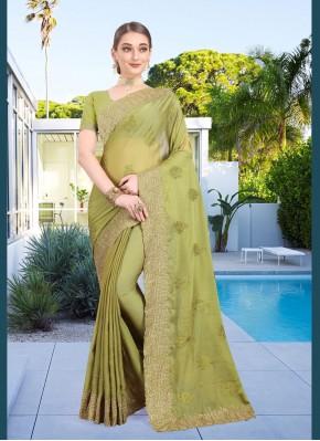 Thrilling Green Faux Chiffon Classic Designer Saree