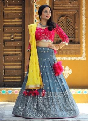 Thrilling Grey, Pink and Yellow Bollywood Style Lehenga Choli