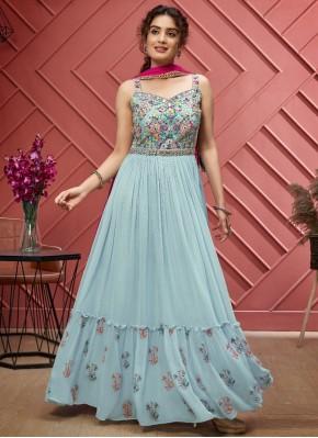 Thrilling  Hand Embroidery Georgette Designer Floor Length Suit