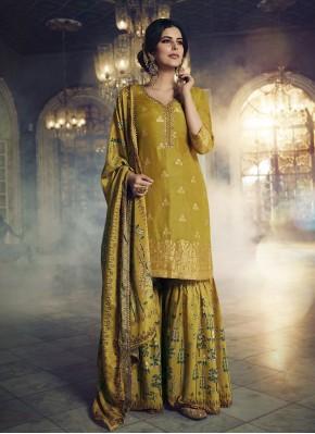 Thrilling Jacquard Silk Designer Pakistani Suit