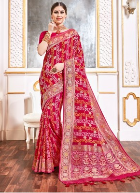 Thrilling Pink Weaving Viscose Bollywood Saree