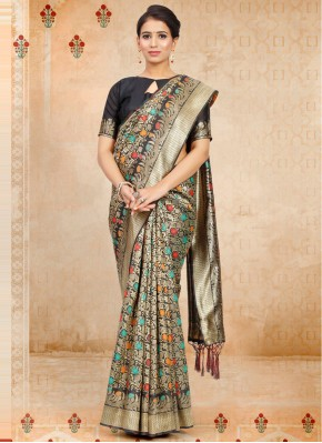 Tiptop Art Silk Black Traditional Designer Saree