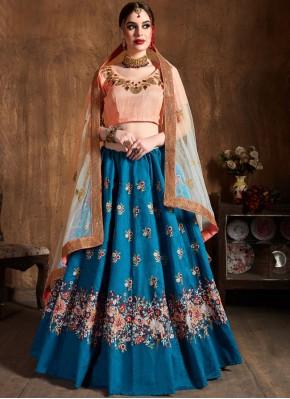 Tiptop Blue Raw Silk Lehenga Choli