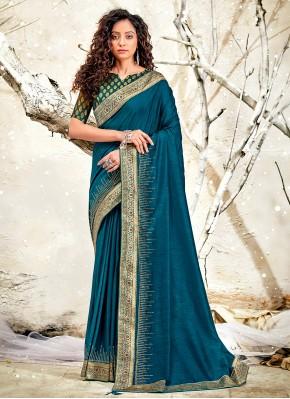 Tiptop Chanderi Patch Border Blue Classic Designer Saree