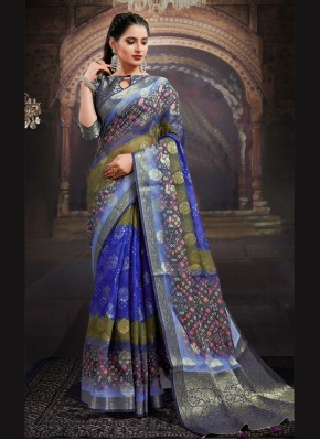 Tiptop Digital Print Multi Colour Fancy Fabric Designer Saree