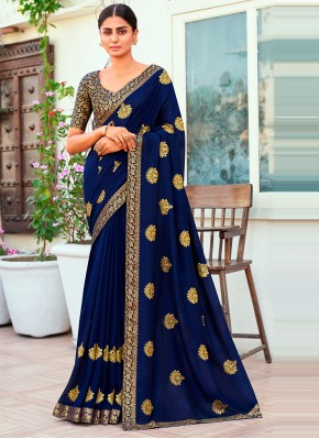 Titillating Embroidered Blue Designer Traditional Saree