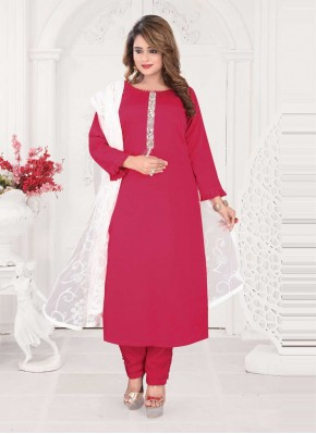 Titillating Embroidered Faux Chiffon Readymade Suit